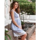 Blue Pinstripe Cotton Maternity Dress