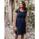 Cotton Blend Navy Lace Maternity & Nursing Dress