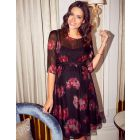 Black & Pink Floral Silk Maternity Dress
