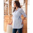 Cotton Pinstripe Empire Maternity Shirt