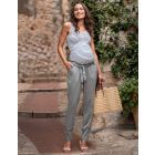 Cotton Blend Grey Maternity Chinos