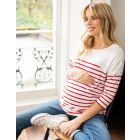 Red & White Striped Cotton Maternity & Nursing Top