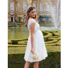 Ivory Silk & Eyelash Lace Maternity Dress