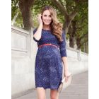 Navy Blue Dot Woven Maternity Dress