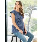 Blue Dot Flutter Sleeve Maternity & Nursing Top