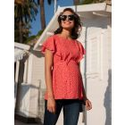Red Dot Flutter Sleeve Maternity & Nursing Top