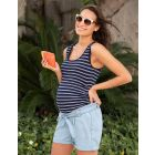 Navy Blue Stripe Maternity & Nursing Top