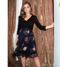 Black Floral Wrap Maternity & Nursing Dress