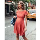 Red Print Woven Maternity Dress