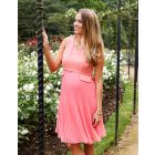 Seraphine Coral Pleated Maternity Dress