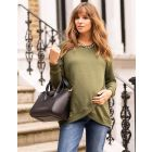Green Crossover Maternity & Nursing Sweater